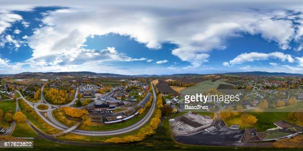 360 degree aerial view of Lierbyen, Norway
