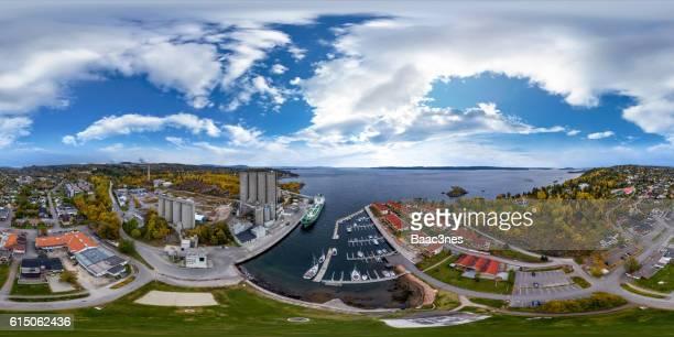 360 degree aerial view of Slemmestad in Røyken, Norway