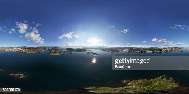 360 degree aerial view of Sølyst, Stavanger city, Engøy and Buøy, Norway