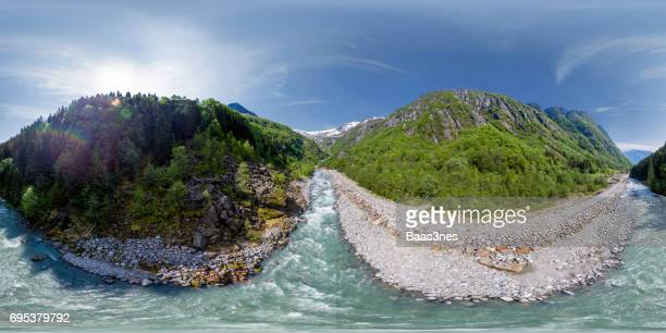 360 degree aerial view - On the way to the glacier Buerbreen, Norway