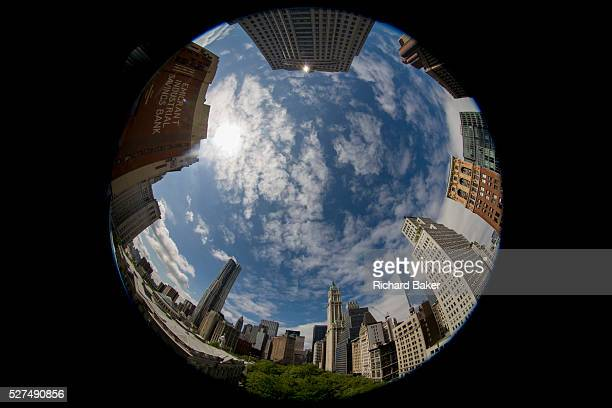 180 degree distorted fisheye lens cityscape on Broadway Lower Manhattan New York City The extreme nature of this specialist lens bends straight lines...