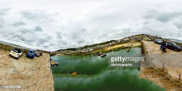 360 degree image of newquay harbour - champagne colored stock pictures, royalty-free photos & images