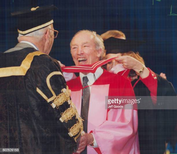 Degree of honor Former prime minister Pierre Trudeau laughs with University of Toronto chancellor John Black Aird yesterday as he receives honorary...