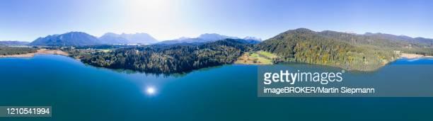 360 degree panorama of lake barmsee, near kruen, werdenfelser land, drone shot, upper bavaria, bavaria, germany - krün stock-fotos und bilder