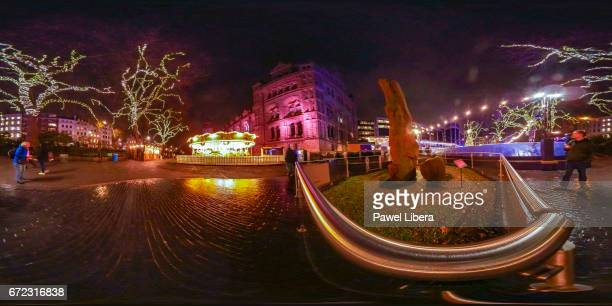 360 degree panoramic of the fossilised tree and the Ice Rink at the Natural History Museum in London