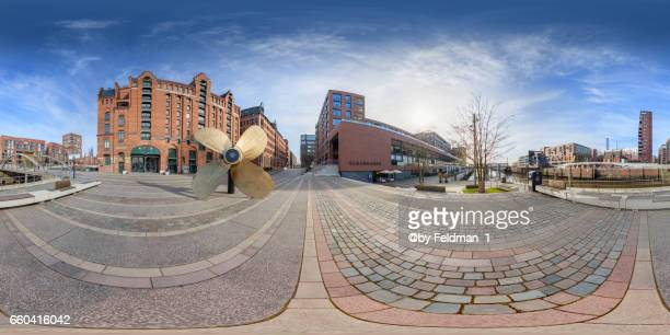 360 degree panoramic view in front of the Maritime Museum and the Elbarkaden in Hamburg