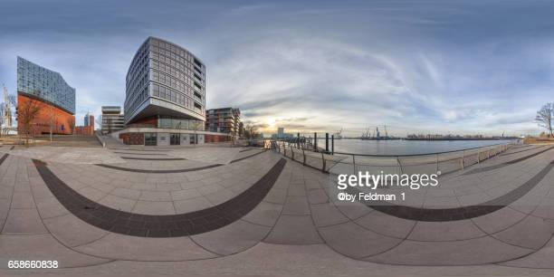 360°  degree panoramic view in HafenCity with Elbphilharmonie