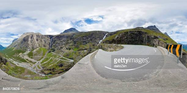 360 degree panoramic view of famous Trollstigen (Troll's Ladder) mountain pass road with surrounding mountain range, Møre og Romsdal, Norway, Europe