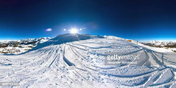 360 degree panoramic view of ski resort in Switzerland