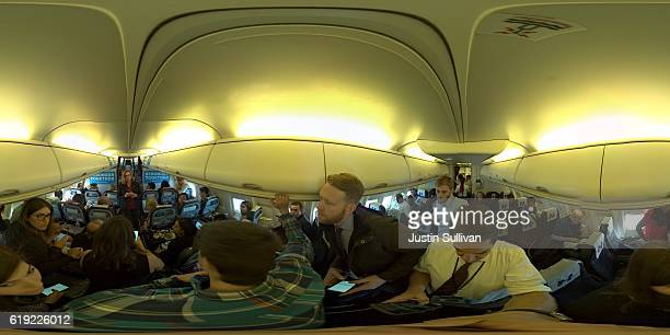 A 360 degree view inside the campaign plane of Democratic presidential nominee former Secretary of State Hillary Clinton as communications director...