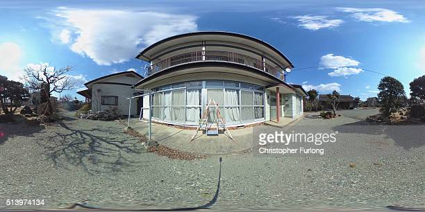 A 360 degree view of a deserted residential area inside the Fukishima nuclear disaster exclusion zone on February 26 2016 in Namie Fukushima Japan...