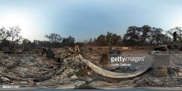 Degree view of a home that was destroyed by the Tubbs Fire on October 12, 2017 in Coffey Park neighborhood of Santa Rosa, California. Twenty four...