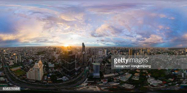 360 degree view of Bangkok city business downtown sunset at Sathorn road, Thailand