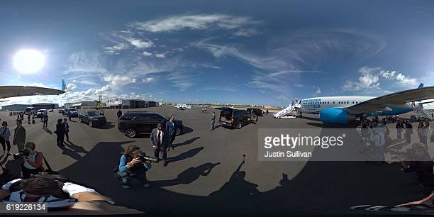 A 360 degree view of Democratic presidential nominee former Secretary of State Hillary Clinton as she arrives at Tampa International Airport on...