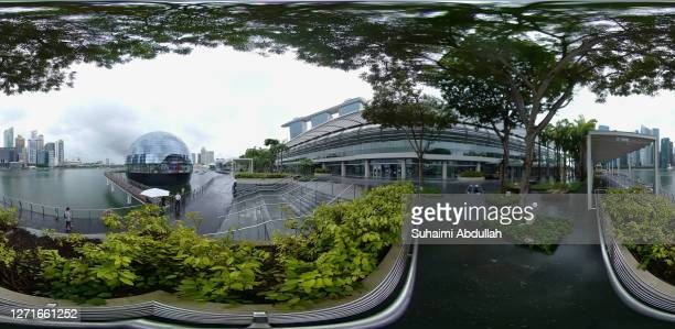 Degree view of the facade of the new Apple store at Marina Bay Sands on September 10, 2020 in Singapore. The store located in a futuristic giant...