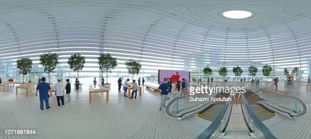 Degree view of the interior of the new Apple store at Marina Bay Sands on September 10, 2020 in Singapore. The store located in a futuristic giant...