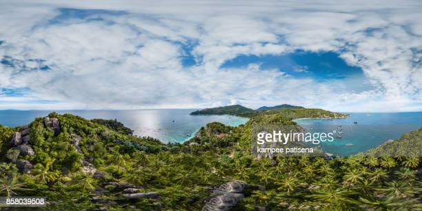 360 degree view of thian og bay and the hills in the south of koh tao island in thailand. - wide angle stock pictures, royalty-free photos & images