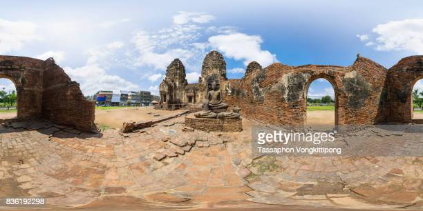 360 degree view of Wat Phra Prang Sam Yod monkey temple in Lopburi, Thailand