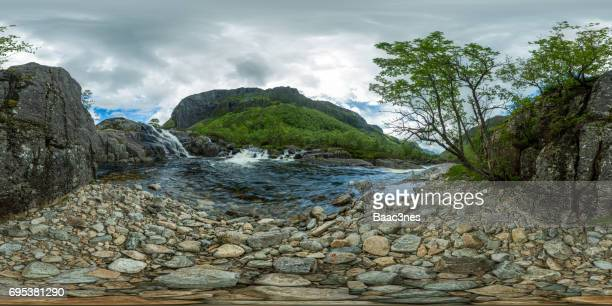 360 degree view - River and small waterfall in Hunnedalen, Norway