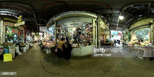 CONTENT] 360 degree wide angle view of the halls and isles of the spices section of the vaulted Kermanshah market bazar in Western Iran