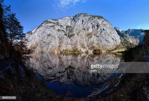 180 grad panorama der obersee see in berchtesgaden park, deutschland. - stein fels stock-fotos und bilder