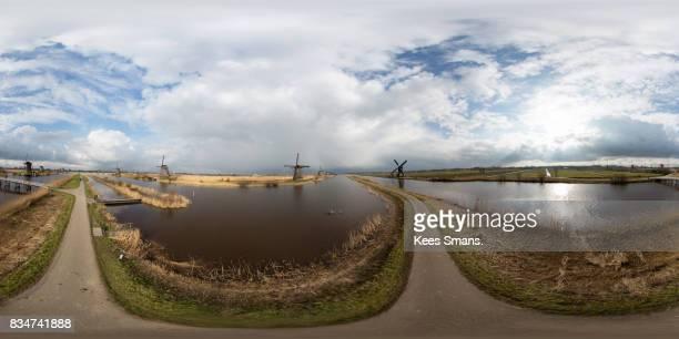 360 degrees still Windmills along river, Kinderdijk, Netherlands