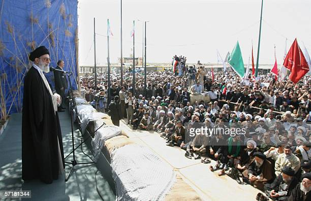 Iran's supreme leader Ayatollah Ali Khamenei speaks to ethnic Arabs during a visit to Dehlavieh in the southern oil province of Khuzestan 25 March...
