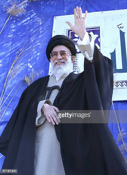 Iran's supreme leader Ayatollah Ali Khamenei waves to a crowd of ethnic Arabs as he delivers a speech during a visit to Dehlavieh in the southern oil...