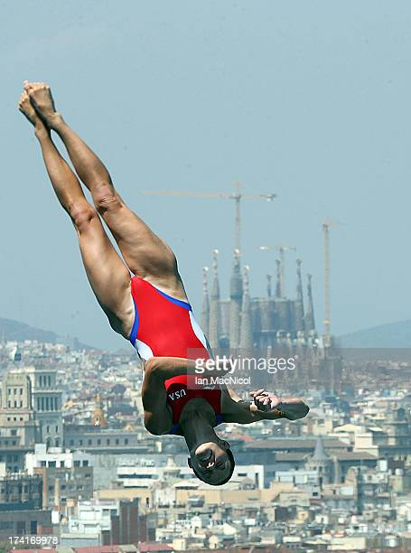 Deidre Freeman of USA competes in the preliminary round of The Women's 1m Springboard at The Piscina Municipal De Montjuic on day two of the 15th...