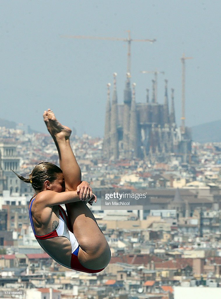 Deidre Freeman of USA competes in the preliminary round of The Women's 1m Springboard at The Piscina Municipal De Montjuic on day two of the 15th FINA World Championships at Moll de la Fusta on July 21, 2013 in Barcelona, Spain.