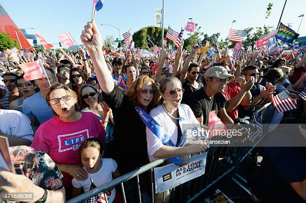 Deidre Weaver and her partner Nancy Grass celebrate during a rally on June 26 2013 in West Hollywood California The Supreme Court struck down the...