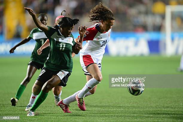Deily Wilson of Costa Rica battles with Grace Chanda of Zambia during the FIFA U-17 Women's World Cup Group A match between Zambia and Costa Rica at...