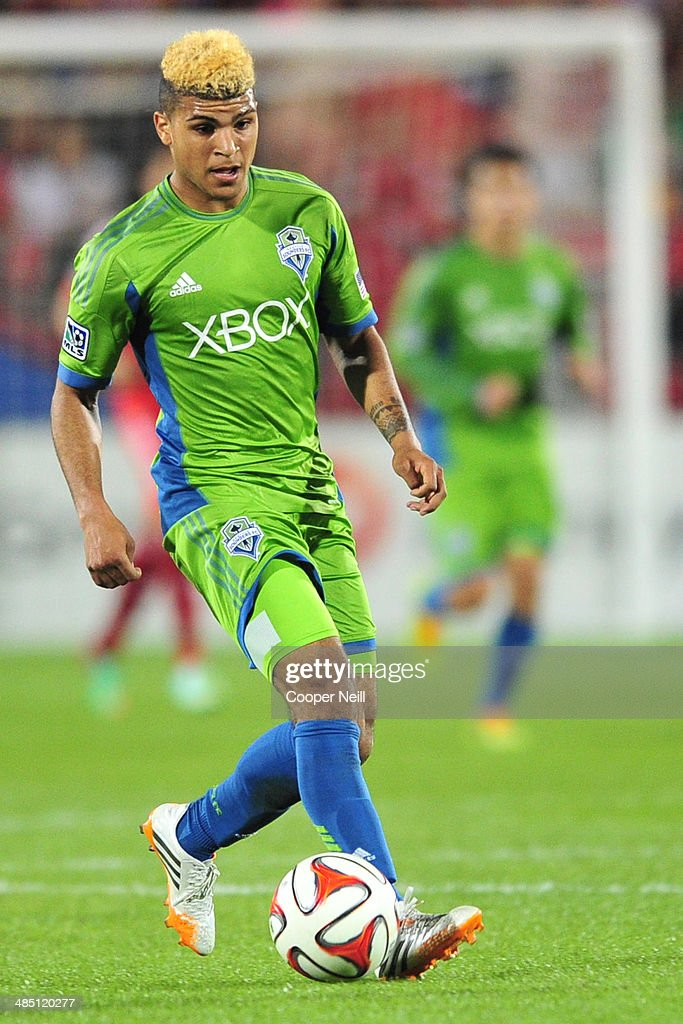 Deindre Yedlin #17 of the Seattle Sounders FC controls the ball against the FC Dallas on April 12, 2014 at Toyota Stadium in Frisco, Texas.