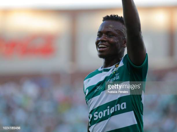 Deinner Quiñones of Santos celebrates the first goa of his team during the 7th round match between Santos Laguna and Cruz Azul as part of the Torneo...