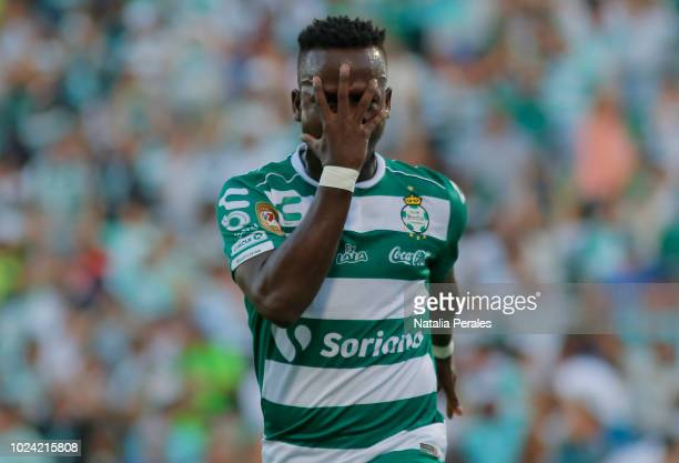 Deinner Quiñones of Santos celebrates the first goal of his team during the 7th round match between Santos Laguna and Cruz Azul as part of the Torneo...