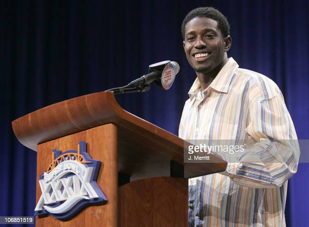 Deion Branch of the New England Patriots speaks at a Press Conference where he was awarded the Pete Rozelle Trophy for the Most Valuable Player Award...