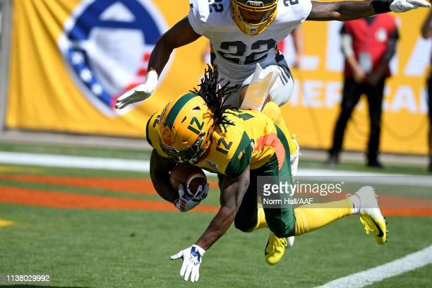 Deion Holliman of the Arizona Hotshots scores a receiving touchdown against Jordan Martin of the San Diego Fleet during the first half of the...