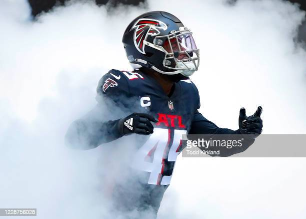 Deion Jones of the Atlanta Falcons is introduced prior to an NFL game against the Chicago Bears at Mercedes-Benz Stadium on September 27, 2020 in...