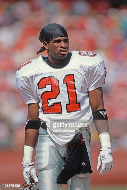 Deion Sanders of the Atlanta Falcons prepares for an National Football League game against the San Francisco 49ers played at Candlestick Park on...