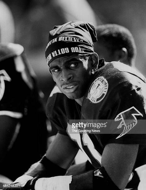 Deion Sanders of the Atlants Falcons looks on circa 1990s