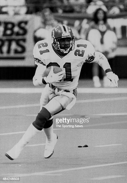 Deion Sanders of the Atlants Falcons runs with the ball circa 1990s
