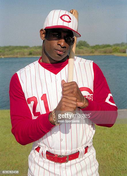 Deion Sanders of the Cincinnati Reds during photo day in Plant City Florida