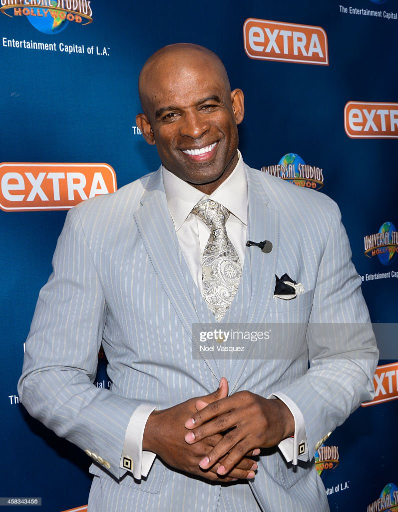 Deion Sanders visits 'Extra' at Universal Studios Hollywood on November 3, 2014 in Universal City, California.