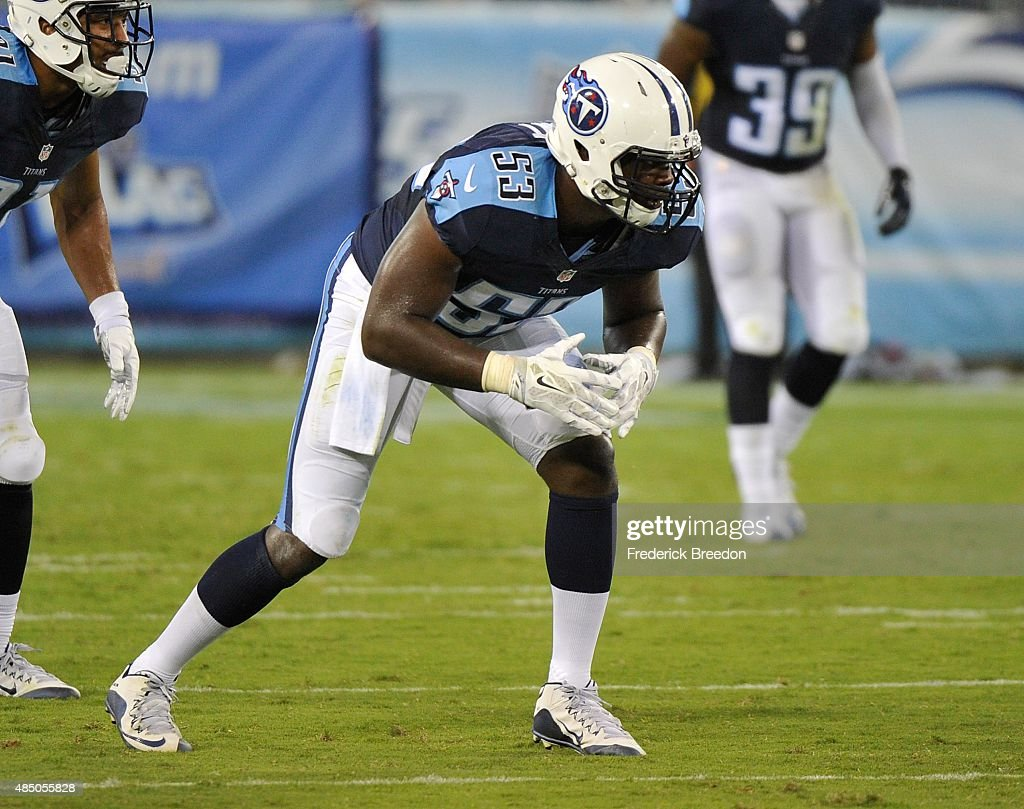 Deiontrez Mount #53 of the Tennessee Titans plays against the St. Louis Rams during the second half of a pre-season game at LP Field on August 23, 2015 in Nashville, Tennessee.