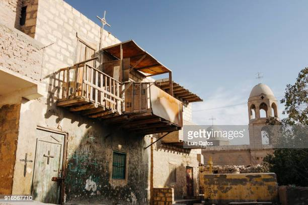 deir el-adra coptic village - minya egypt stock pictures, royalty-free photos & images