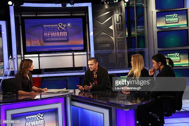Deirdre Bolton, James Franco, Pamela Romanowsky and Bruce Thierry at The FOX Business Network at FOX Studios on December 9, 2014 in New York City.