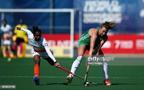 Deirdre Duke of Ireland battles with Nikki Pradhan of India during day 8 of the FIH Hockey World League Women's Semi Finals 7th/ 8th place match...