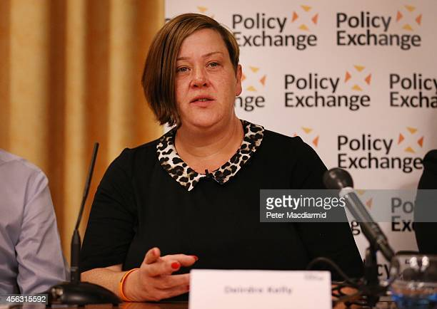 Deirdre Kelly known as White Dee speaks at a Policy Exchange fringe meeting at the Conservative party conference on September 29 2014 in Birmingham...