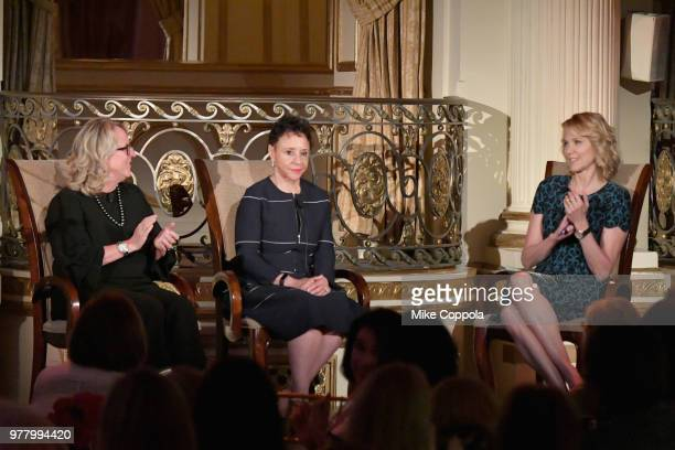 Deirdre Quinn Sheila Johnson and Paula Zahn speak onstage during the 8th Annual Elly Awards hosted by the Women's Forum of New York at The Plaza...