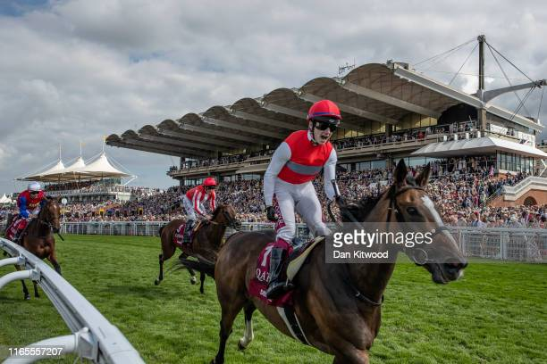 Deirdre, ridden by Oisin Murphy comes in to win the Qatar Nassau Stakes on Ladies Day at Goodwood Races on August 1, 2019 in Chichester, England....